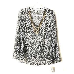 Animal Print Tunic Sheer Black White Embellished